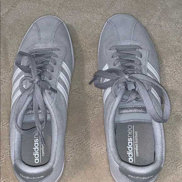 Grey and White Adidas Neo comfort footbed sneakers